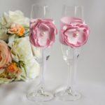 """Свадебные бокалы """"Пиончик"""" розовый"""