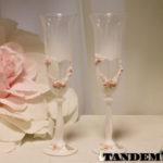 Бокалы - Heart, pink roses