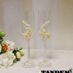 Бокалы - лепка, Roses Ivory