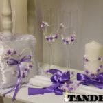Набор свадебных аксессуаров - Сердце, лепка, сирень