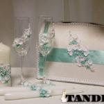 Набор свадебных аксессуаров - лепка, мятная Орхидея