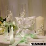 Набор свадебных аксессуаров - лепка, мятный
