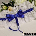 Подвязка двухсторонняя с синим бантом