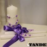 Свадебные свечи - Сердце, лепка, сирень