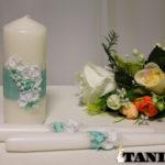 Свадебные свечи c лепкой, Мятная Орхидея