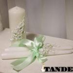 Свадебные свечи - лепка, мятные