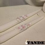 Свадебные свечи - лепка, pink roses