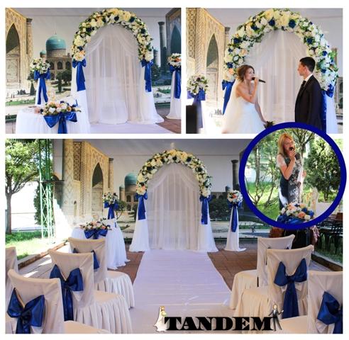 Оформление церемонии в синем цвете.