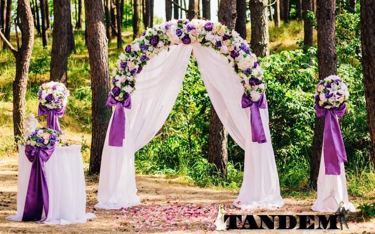 Фиолетовая свадебная арка для церемонии