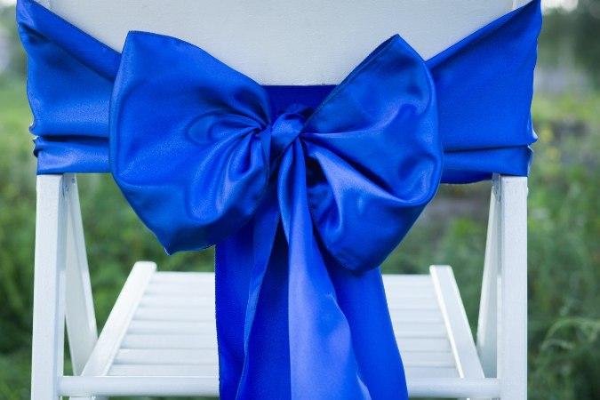 Бант - атласный, синий
