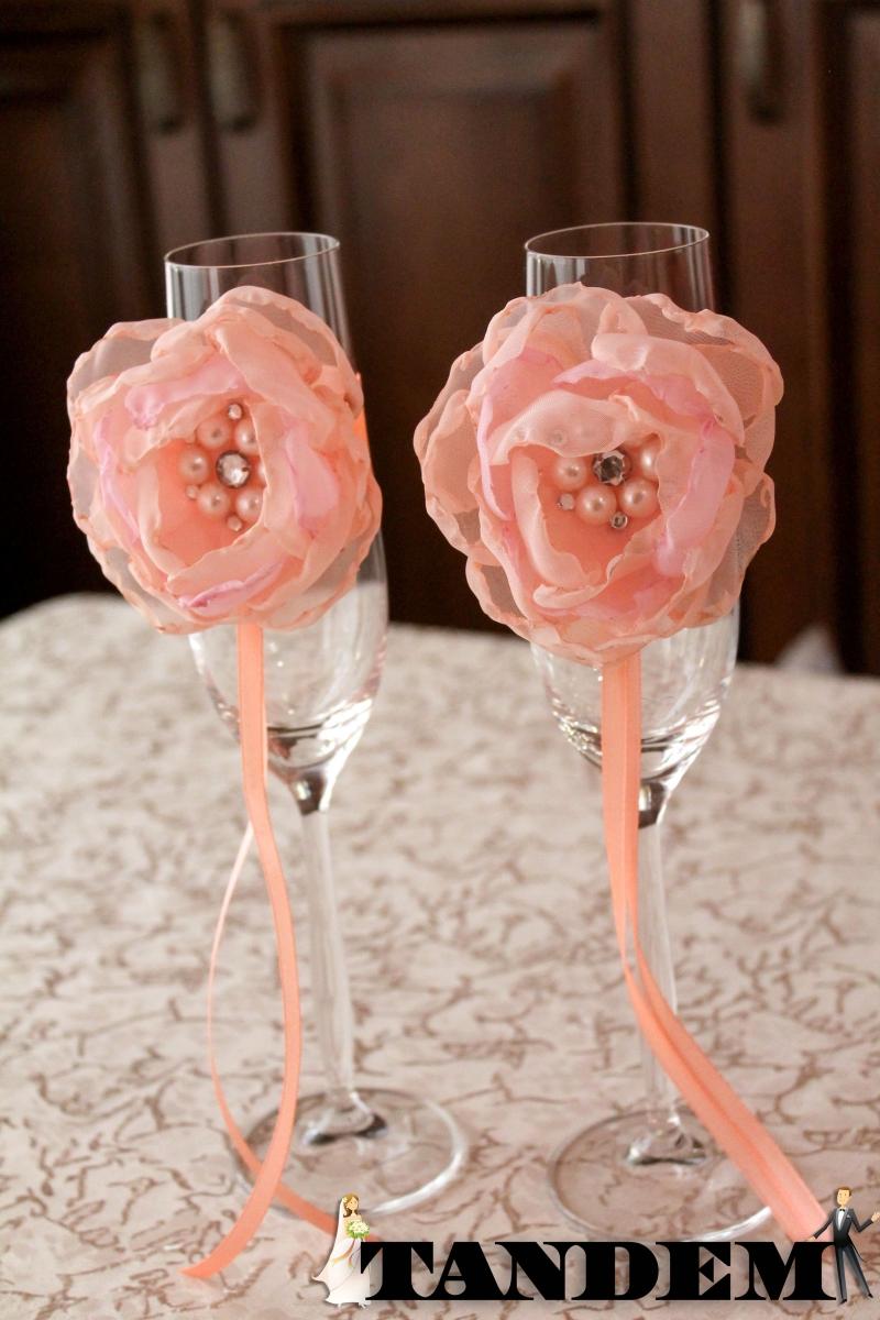 Украшение свадебных бокалов мастер-класс